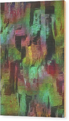 City At Night Wood Print by Jack Zulli