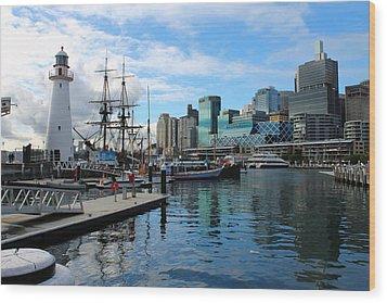 City Docks Wood Print by Harlan Fijal-Campbell