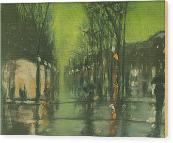 City Rain 6 Wood Print by Paul Mitchell