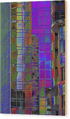 City Windows Abstract Pop Art Colors Wood Print by Phyllis Denton