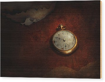 Clock - Time Waits For Nothing  Wood Print by Mike Savad