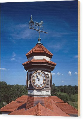 Clock Tower And Weathervane, Longview Wood Print by Everett