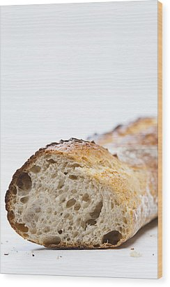 Close Up Of Sliced Loaf Of Bread Wood Print by Henn Photography