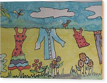 Clothesline Wood Print by Yvonne Feavearyear