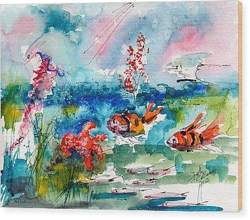Clown Fish Deep Sea Watercolor Wood Print by Ginette Callaway