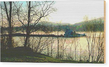 Coal Barge In Ohio River Mist Wood Print by Padre Art