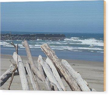 Coastal Driftwood Art Prints Blue Sky Ocean Waves Wood Print by Baslee Troutman