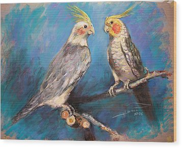 Coctaiel Parrots Wood Print by Ylli Haruni