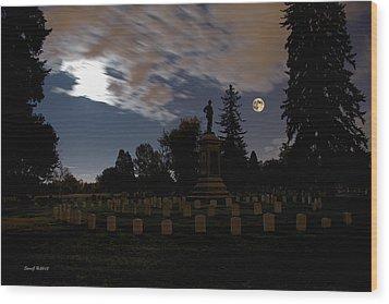 Colorado Volunteers Under The Full Moon Wood Print by Stephen  Johnson
