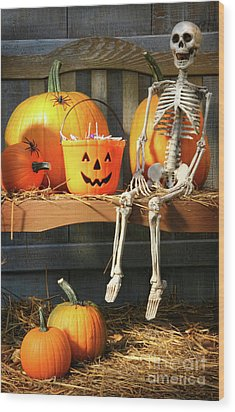 Colorful Pumpkins And Skeleton On Bench Wood Print by Sandra Cunningham