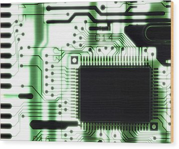 Computer Circuit Board Wood Print by Tim Vernonlth Nhs Trust