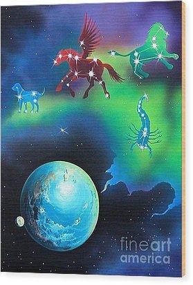 Constellations Wood Print by Kimberlee  Ketterman Edgar
