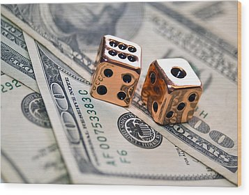 Copper Dice And Money Wood Print by Susan Leggett