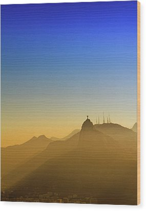 Corcovado Mountain And Christ Redeemer At Sunset Wood Print by Antonello