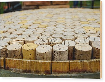 Corks Wood Print by Calvin Wray