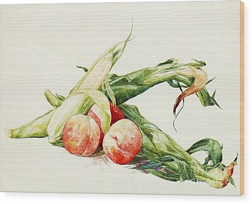 Corn And Peaches Wood Print by Pg Reproductions