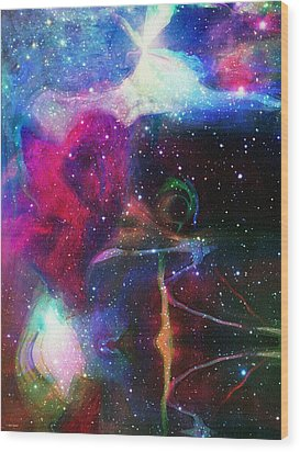 Cosmic Connection Wood Print by Linda Sannuti