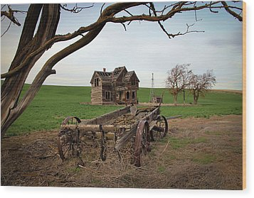 Country Home And Wagon Wood Print by Athena Mckinzie