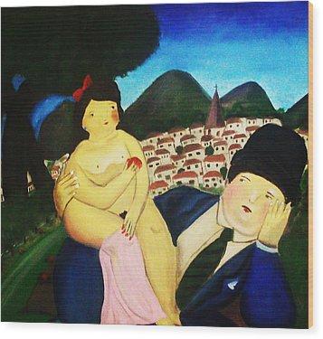 Couple's Picnic Wood Print by Vickie Meza