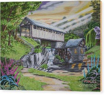 Covered Bridge Wood Print by Robert Thornton