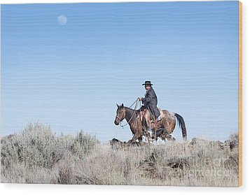 Cowboy Desert Moon Wood Print by Cindy Singleton