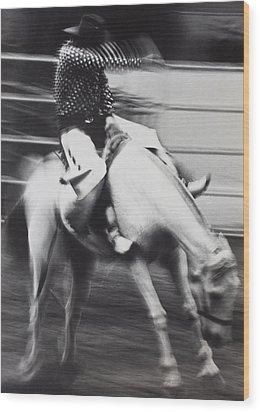 Cowboy Riding Bucking Horse  Wood Print by Garry Gay