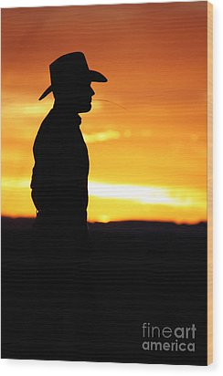 Cowboy Sunset Wood Print by Val Armstrong