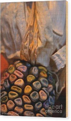 Crazee Corn Colors Wood Print by Susan Herber