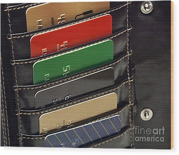 Credit Cards In Wallet Wood Print by Blink Images