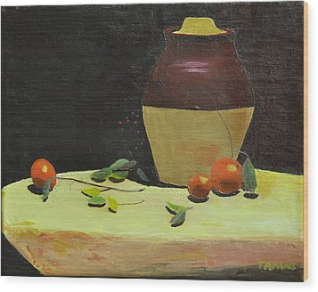 Crock With Fruit Wood Print by Tom Amiss