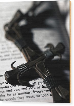 Cross On A Book Wood Print by Fabrizio Troiani