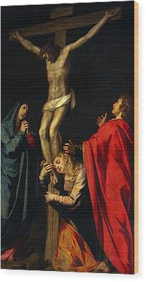 Crucification At Night Wood Print by Munir Alawi