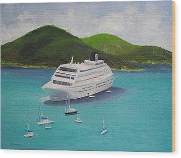 Cruise Ship Off Charlotte Amalie Wood Print by Robert Rohrich