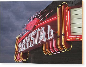 Crystal Theater Neon Wood Print by Tony Grider