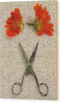 Cutting Flowers Wood Print by Joana Kruse