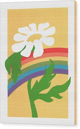 Daisy's Rainbow Wood Print by Terry Taylor