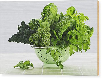 Dark Green Leafy Vegetables In Colander Wood Print by Elena Elisseeva