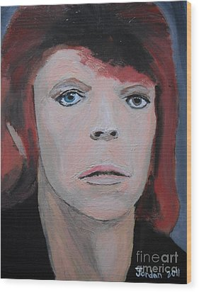 David Bowie The Early Years Wood Print by Jeannie Atwater Jordan Allen