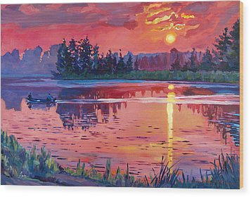 Daybreak Reflection Wood Print by David Lloyd Glover