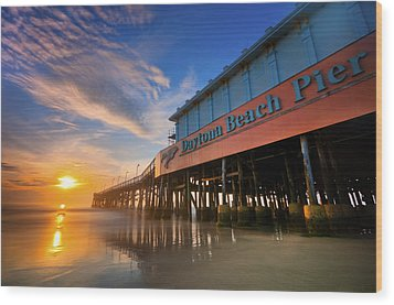 Daytona Sunrise Wood Print by Ryan Heffron