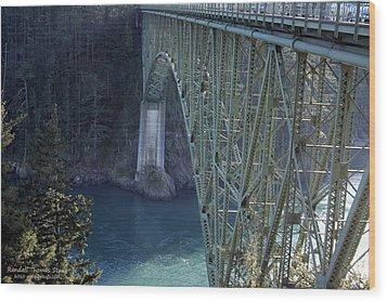 Deception Pass Bridge South Span Wood Print by Randall Thomas Stone