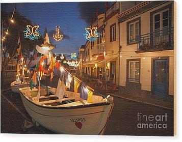 Decorated Fishing Boats Wood Print by Gaspar Avila