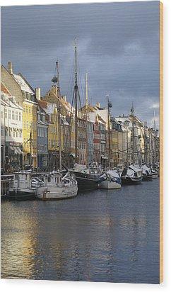 Denmark, Copenhagen, Nyhavn, Boats Wood Print by Keenpress