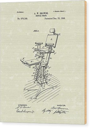 Dental Chair 1896 Patent Art Wood Print by Prior Art Design