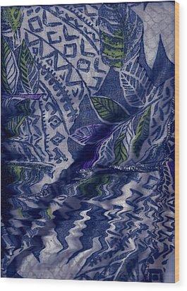 Designs With Blues Wood Print by Anne-Elizabeth Whiteway
