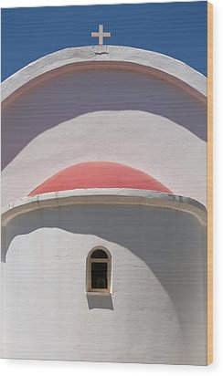Detail Of Small Church Between Limnes Wood Print by Axiom Photographic