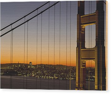 Detail Of The Golden Gate Bridge At Wood Print by Axiom Photographic