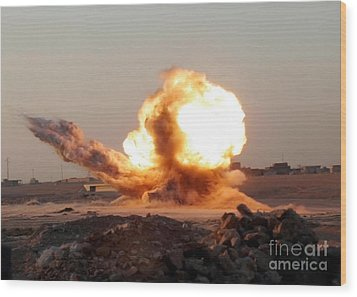 Detonation Of A Weapons Cache Wood Print by Stocktrek Images