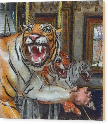 Detroit Tigers Carousel Wood Print by Michelle Calkins