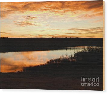 Dixon Reservoir Sunrise Wood Print by Sara  Mayer